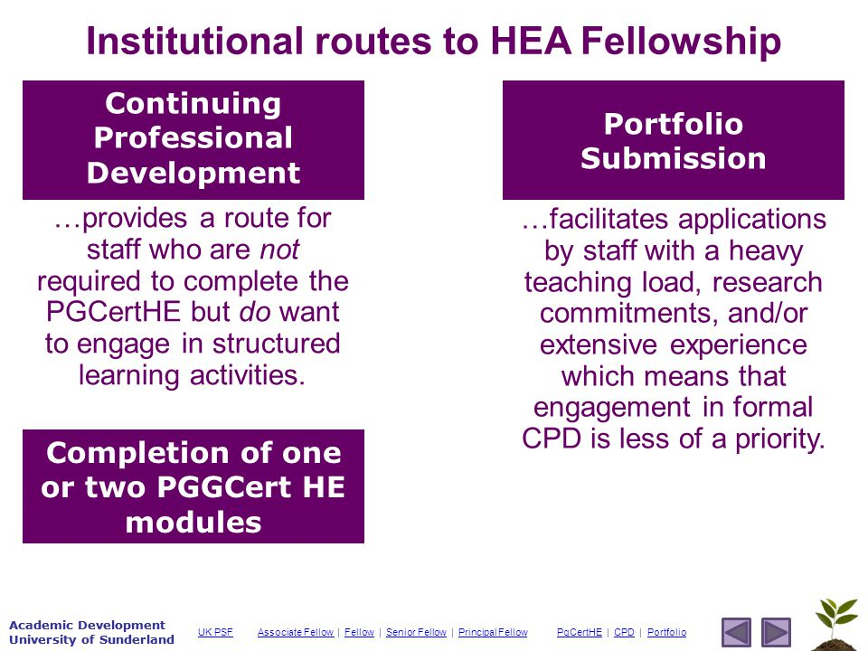 Academic Development University of Sunderland Associate Fellow Associate Fellow | Fellow | Senior Fellow | Principal FellowFellowSenior FellowPrincipal FellowPgCertHEPgCertHE | CPD | PortfolioCPDPortfolioUK PSF Academic Development University of Sunderland Institutional routes to HEA Fellowship Continuing Professional Development Portfolio Submission Completion of one or two PGGCert HE modules …provides a route for staff who are not required to complete the PGCertHE but do want to engage in structured learning activities.