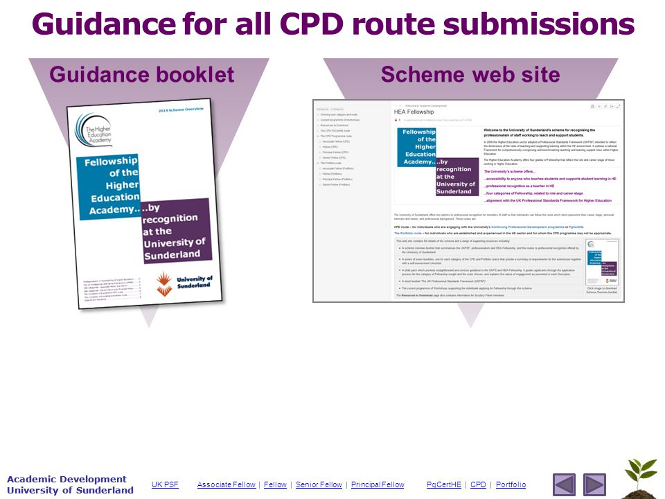 Academic Development University of Sunderland Associate Fellow Associate Fellow | Fellow | Senior Fellow | Principal FellowFellowSenior FellowPrincipal FellowPgCertHEPgCertHE | CPD | PortfolioCPDPortfolioUK PSF Academic Development University of Sunderland Guidance for all CPD route submissions Guidance booklet Scheme web site