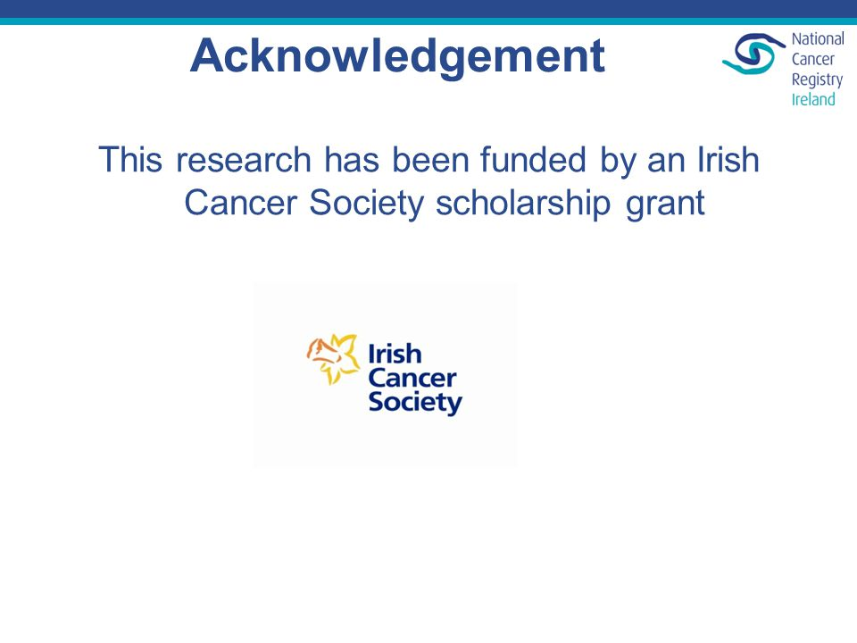 Acknowledgement This research has been funded by an Irish Cancer Society scholarship grant
