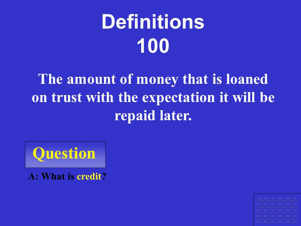 100 Definitions Types of Types of Credit 4 C's of 4 C's of Credit Your Rights Credit Report Potpourri F i n a l J e o p a r d y