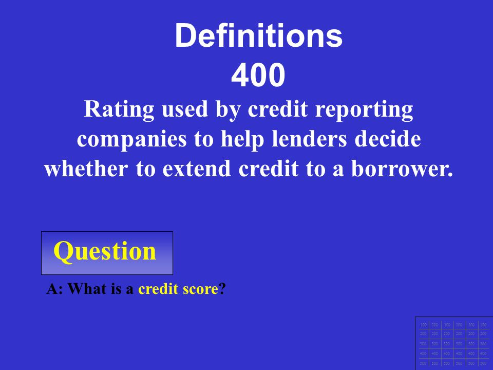 Question A: What is a credit history.