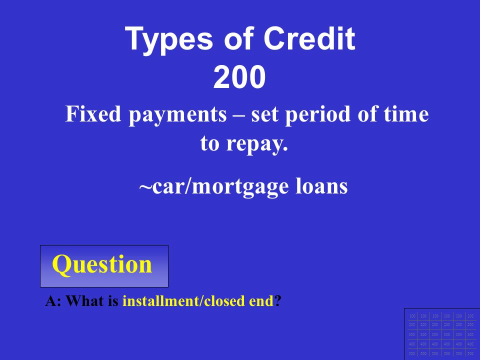 Question A: What is single payment credit.