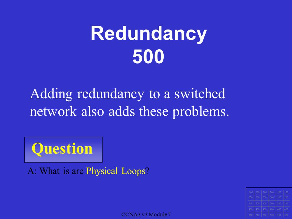 CCNA3 v3 Module 7 Question 100 200 300 400 500 CCNA3 v3 Module 7 A: What is Reliability.