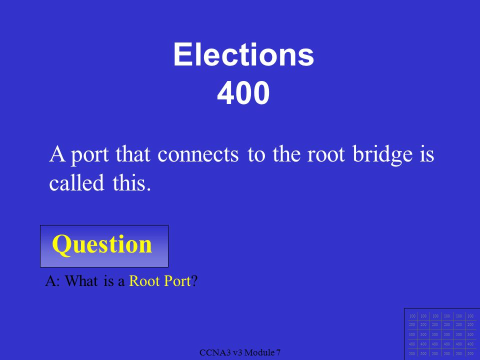 CCNA3 v3 Module 7 Question 100 200 300 400 500 CCNA3 v3 Module 7 A: What is Elect (choose) a Root Bridge.