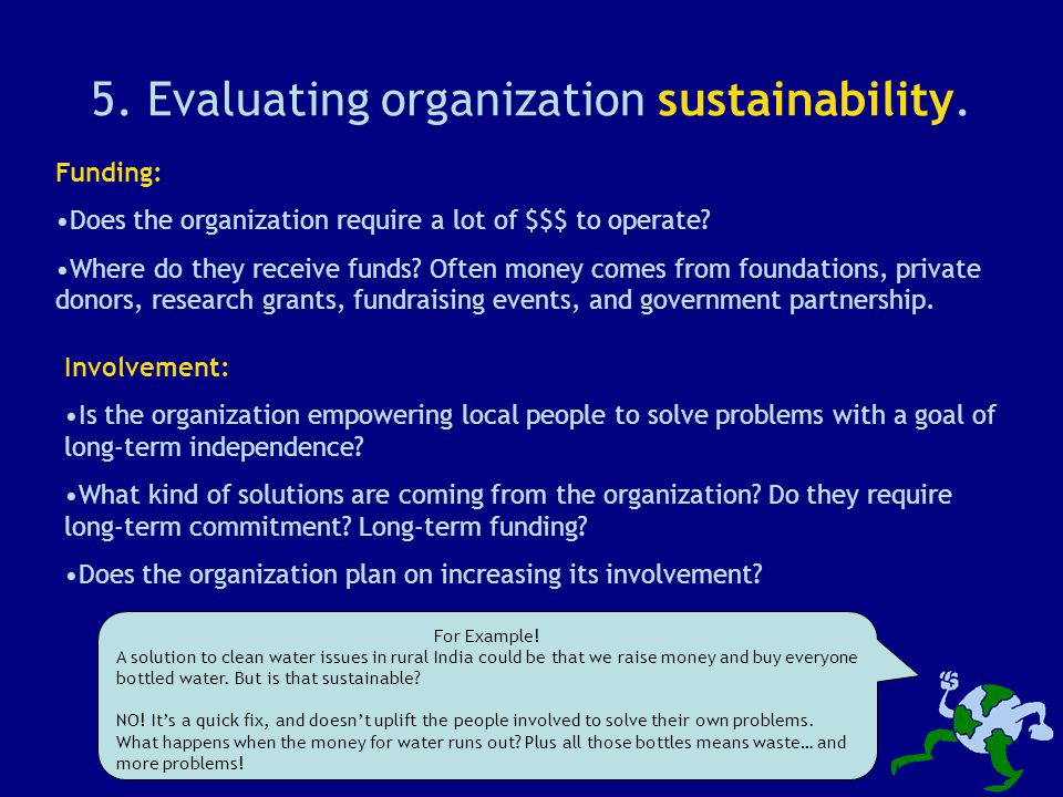 5. Evaluating organization sustainability.