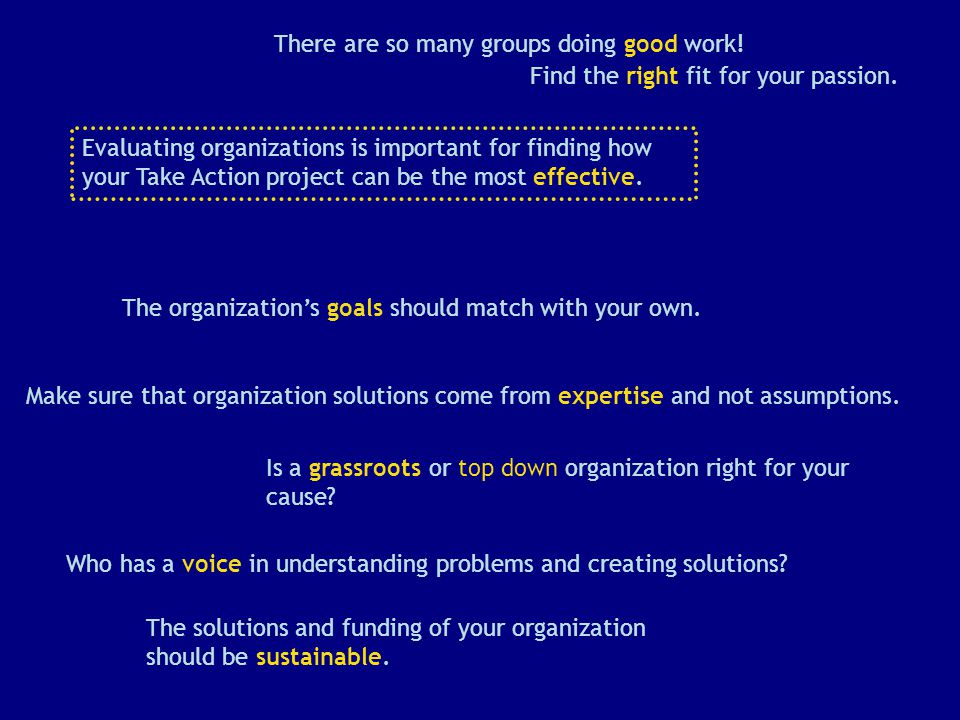 There are so many groups doing good work. The organization's goals should match with your own.