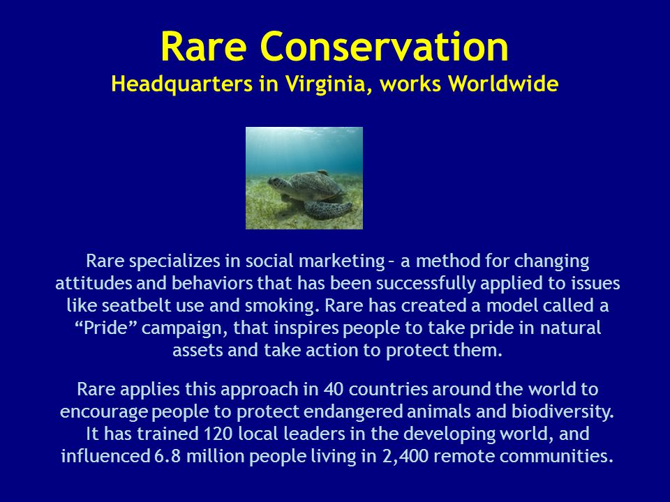 Rare Conservation Headquarters in Virginia, works Worldwide Rare specializes in social marketing – a method for changing attitudes and behaviors that has been successfully applied to issues like seatbelt use and smoking.