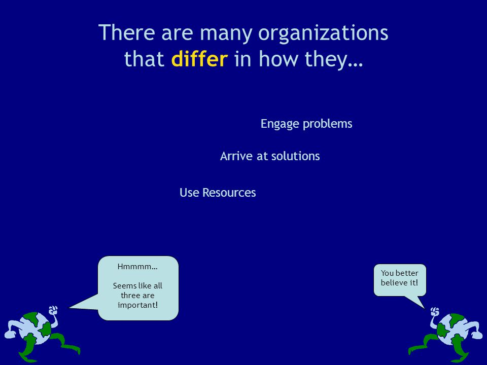 There are many organizations that differ in how they… Engage problems Use Resources Arrive at solutions Hmmmm… Seems like all three are important.