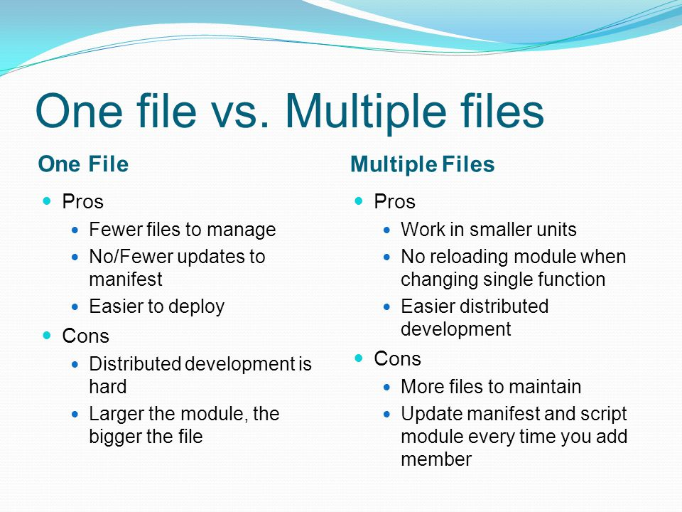 Structure of a Script Module Files Script module file.psm1 –required Manifest file.psd1 Script files.ps1 Format files.format.ps1xml Help files.txt(v2/v3).cab/.xml(v3) Application libraries.dll Script module file Member definitions or execution of other script files Manifest file Contains script modules file to execute Required components: PowerShell, CLR versions, other modules Metadata: Author, Description Other components to load