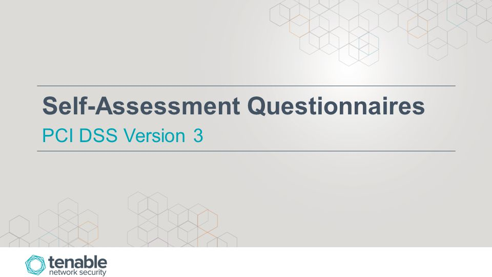 Self-Assessment Questionnaires PCI DSS Version 3