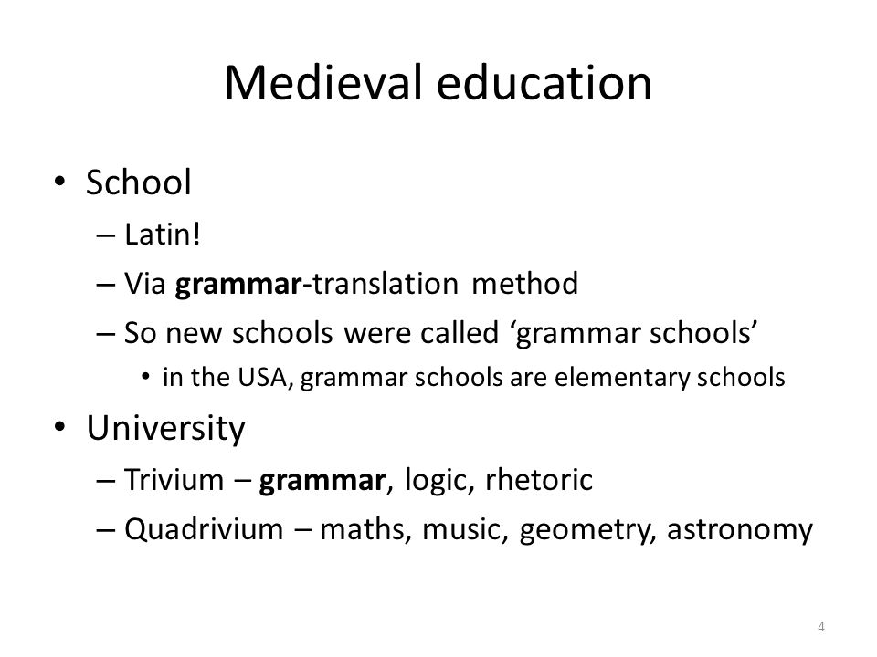 Medieval education School – Latin.