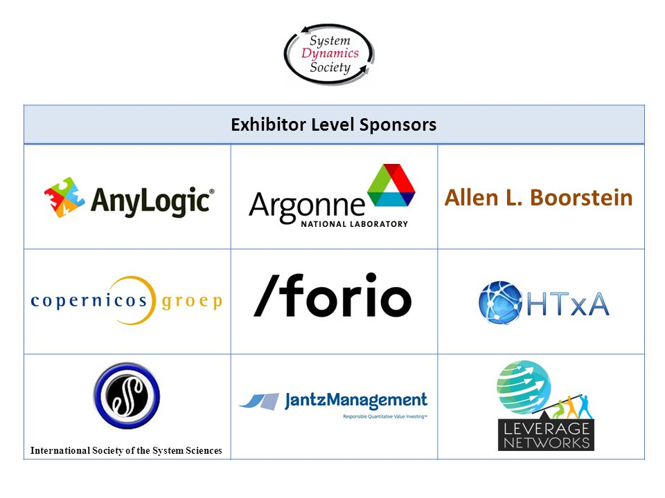 Exhibitor Level Sponsors Allen L. Boorstein International Society of the System Sciences