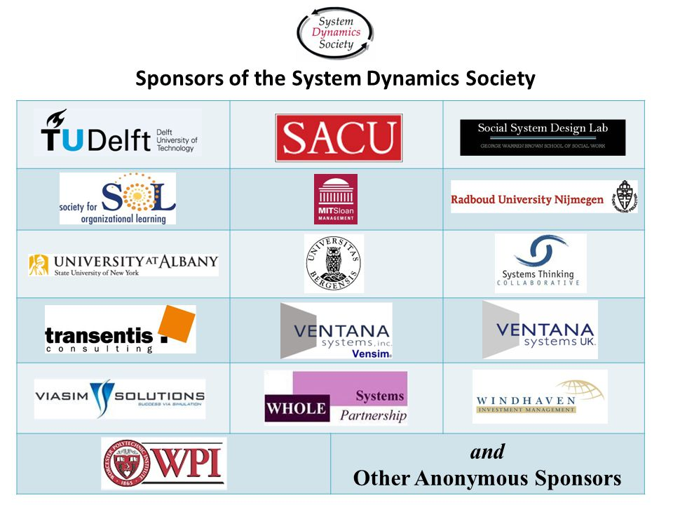 and Other Anonymous Sponsors Sponsors of the System Dynamics Society