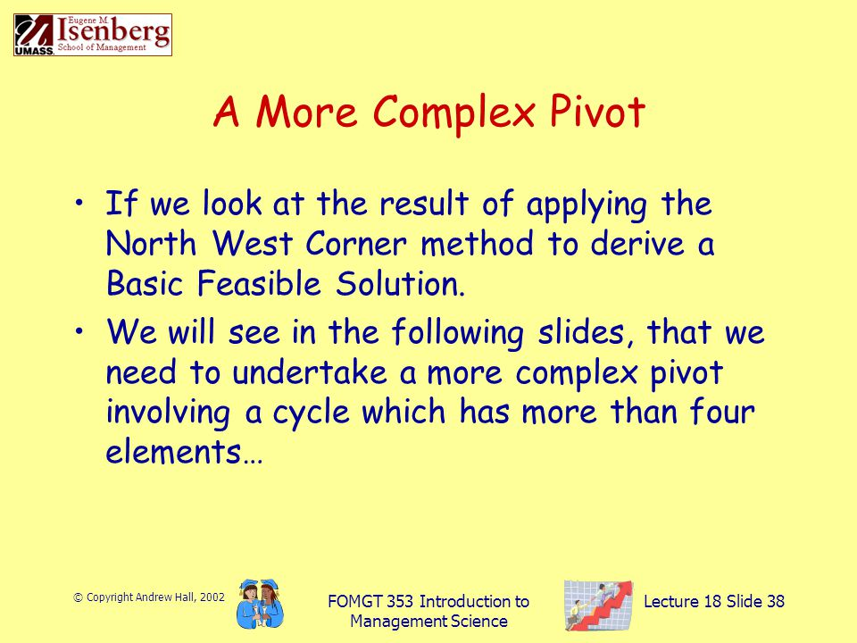 © Copyright Andrew Hall, 2002 FOMGT 353 Introduction to Management Science Lecture 18 Slide 38 If we look at the result of applying the North West Corner method to derive a Basic Feasible Solution.