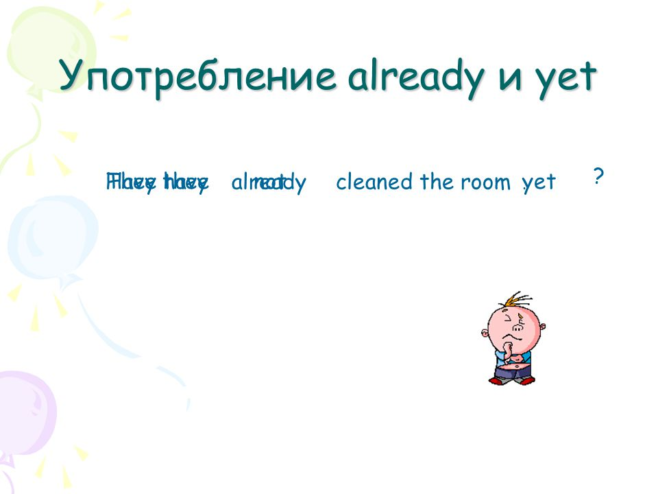 Употребление already и yet They have alreadycleaned the room not Have they yet.