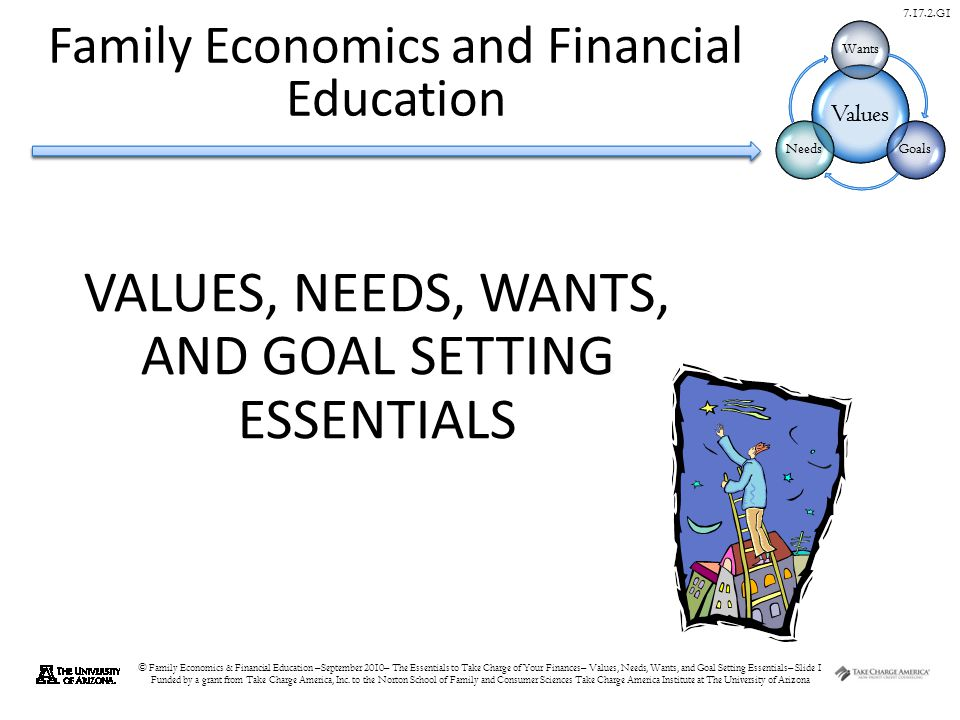 © Family Economics & Financial Education –September 2010– The Essentials to Take Charge of Your Finances– Values, Needs, Wants, and Goal Setting Essentials– Slide 1 Funded by a grant from Take Charge America, Inc.