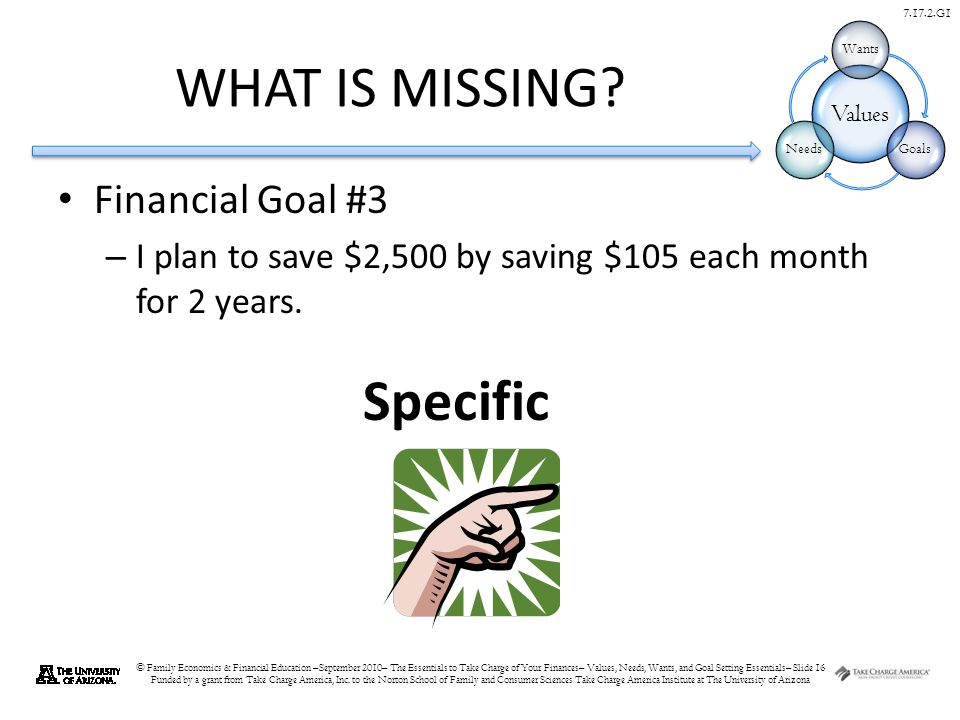 © Family Economics & Financial Education –September 2010– The Essentials to Take Charge of Your Finances– Values, Needs, Wants, and Goal Setting Essentials– Slide 16 Funded by a grant from Take Charge America, Inc.