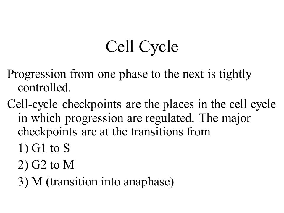 Cell Cycle Progression from one phase to the next is tightly controlled.