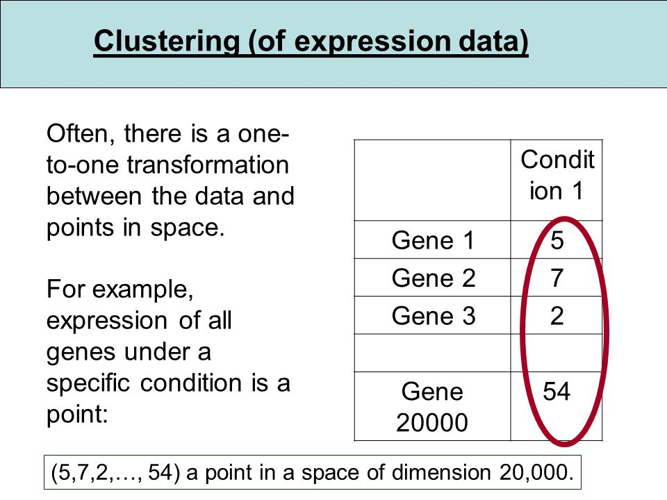 Clustering (of expression data) Often, there is a one- to-one transformation between the data and points in space.