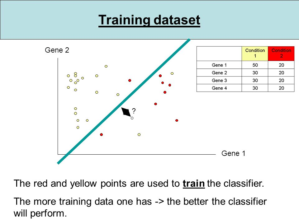 Training dataset Gene 1 Gene 2 . The red and yellow points are used to train the classifier.