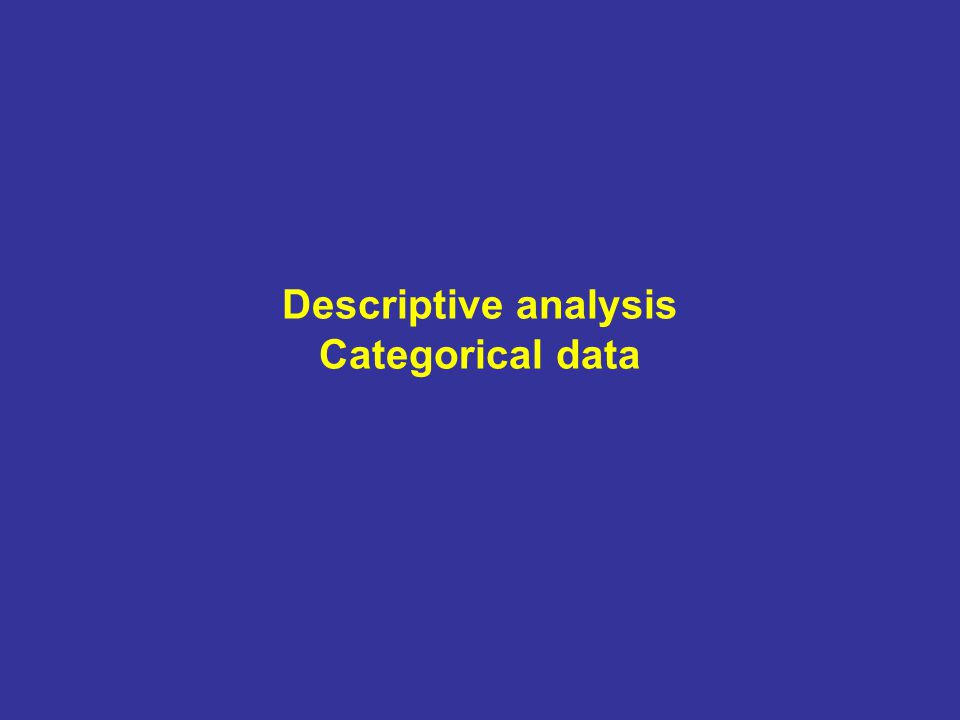 Descriptive analysis Categorical data