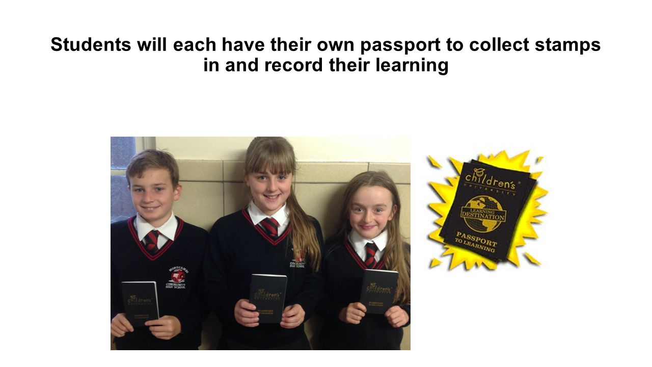 Students will each have their own passport to collect stamps in and record their learning