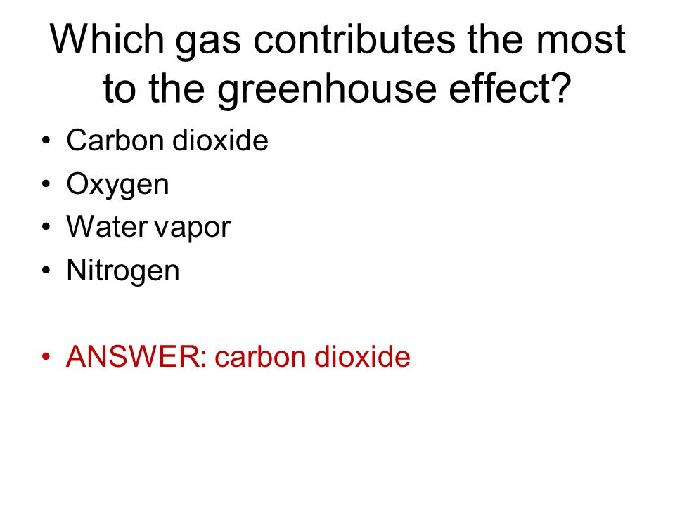 Which gas contributes the most to the greenhouse effect.
