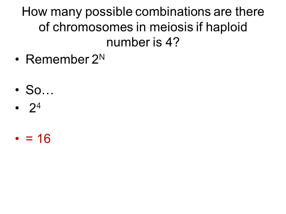 How many possible combinations are there of chromosomes in meiosis if haploid number is 4.