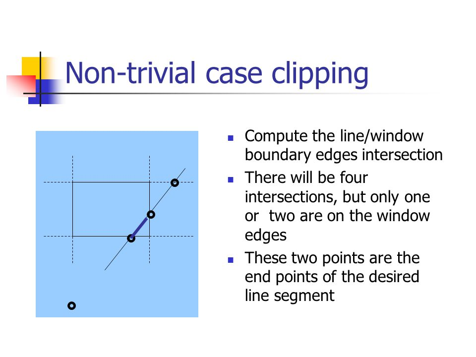 Non-trivial case clipping Compute the line/window boundary edges intersection There will be four intersections, but only one or two are on the window edges These two points are the end points of the desired line segment