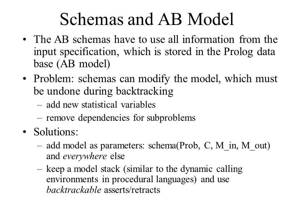 Schemas and AB Model The AB schemas have to use all information from the input specification, which is stored in the Prolog data base (AB model) Problem: schemas can modify the model, which must be undone during backtracking –add new statistical variables –remove dependencies for subproblems Solutions: –add model as parameters: schema(Prob, C, M_in, M_out) and everywhere else –keep a model stack (similar to the dynamic calling environments in procedural languages) and use backtrackable asserts/retracts