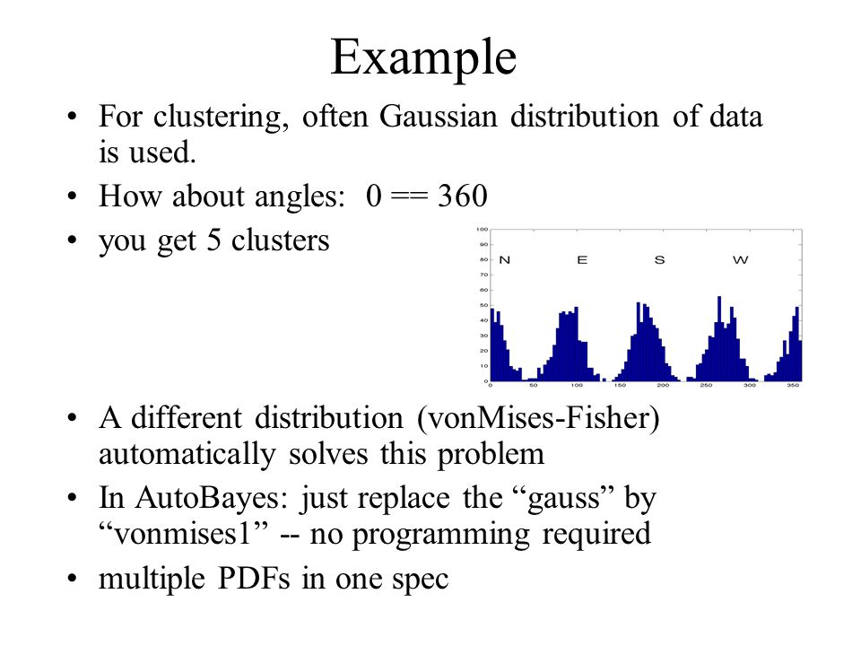 Example For clustering, often Gaussian distribution of data is used.