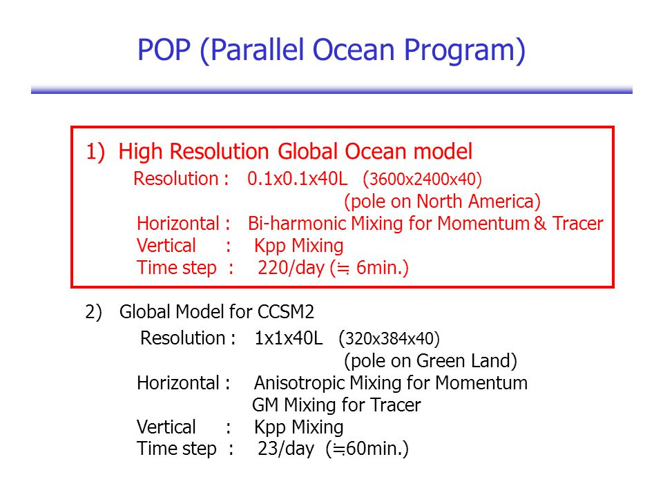 POP (Parallel Ocean Program) 1)High Resolution Global Ocean model Resolution : 0.1x0.1x40L ( 3600x2400x40) (pole on North America) Horizontal : Bi-harmonic Mixing for Momentum & Tracer Vertical : Kpp Mixing Time step : 220/day ( ≒ 6min.) 2) Global Model for CCSM2 Resolution : 1x1x40L ( 320x384x40) (pole on Green Land) Horizontal : Anisotropic Mixing for Momentum GM Mixing for Tracer Vertical : Kpp Mixing Time step : 23/day ( ≒ 60min.)