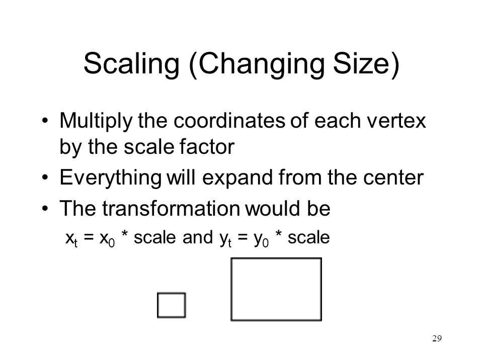 29 Scaling (Changing Size) Multiply the coordinates of each vertex by the scale factor Everything will expand from the center The transformation would be x t = x 0 * scale and y t = y 0 * scale