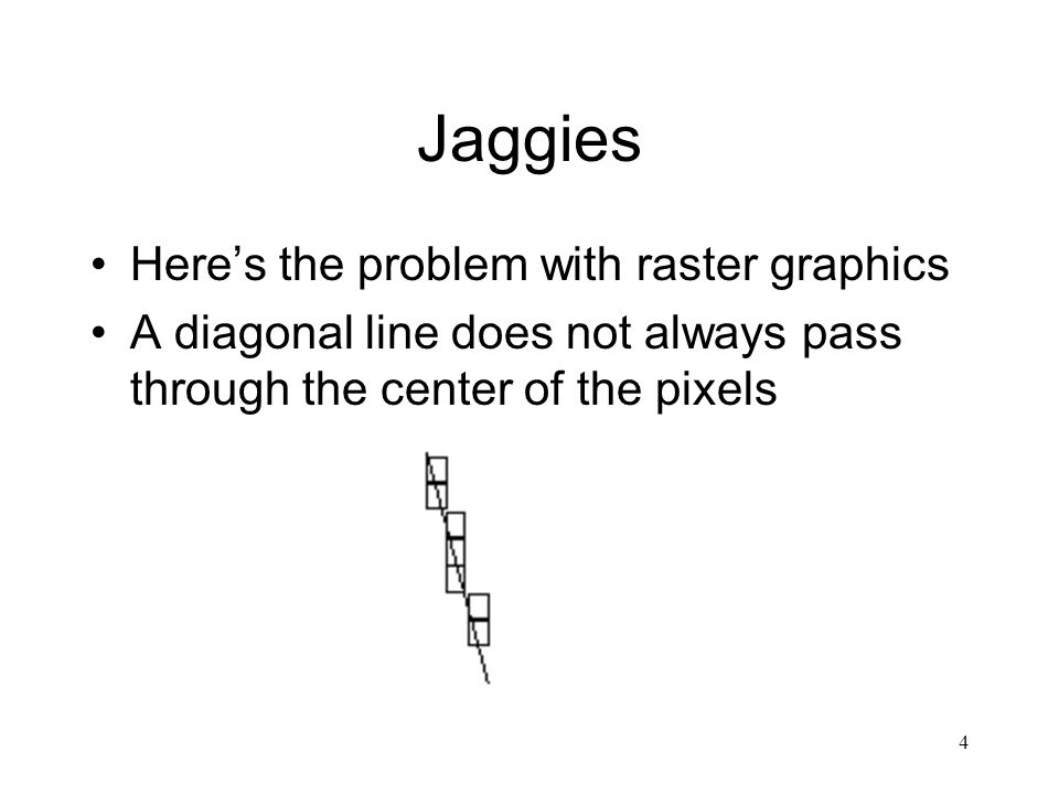 4 Jaggies Here's the problem with raster graphics A diagonal line does not always pass through the center of the pixels