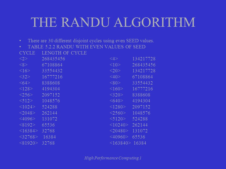 High Performance Computing 1 THE RANDU ALGORITHM There are 30 different disjoint cycles using even SEED values.