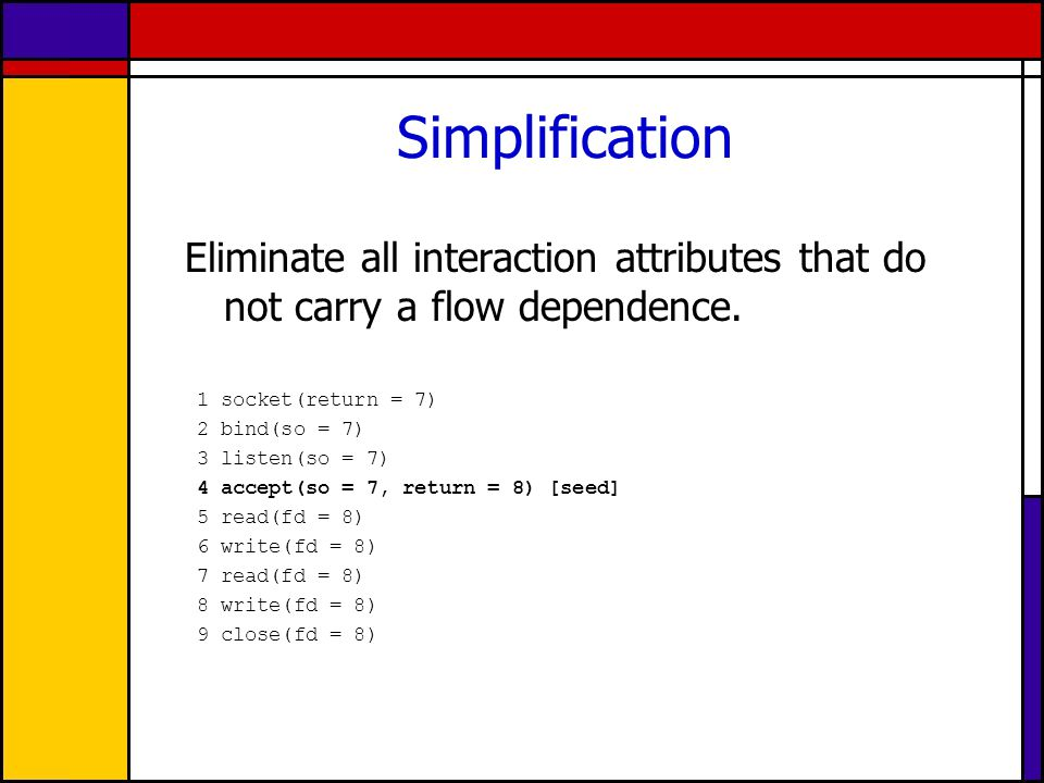 Simplification Eliminate all interaction attributes that do not carry a flow dependence.