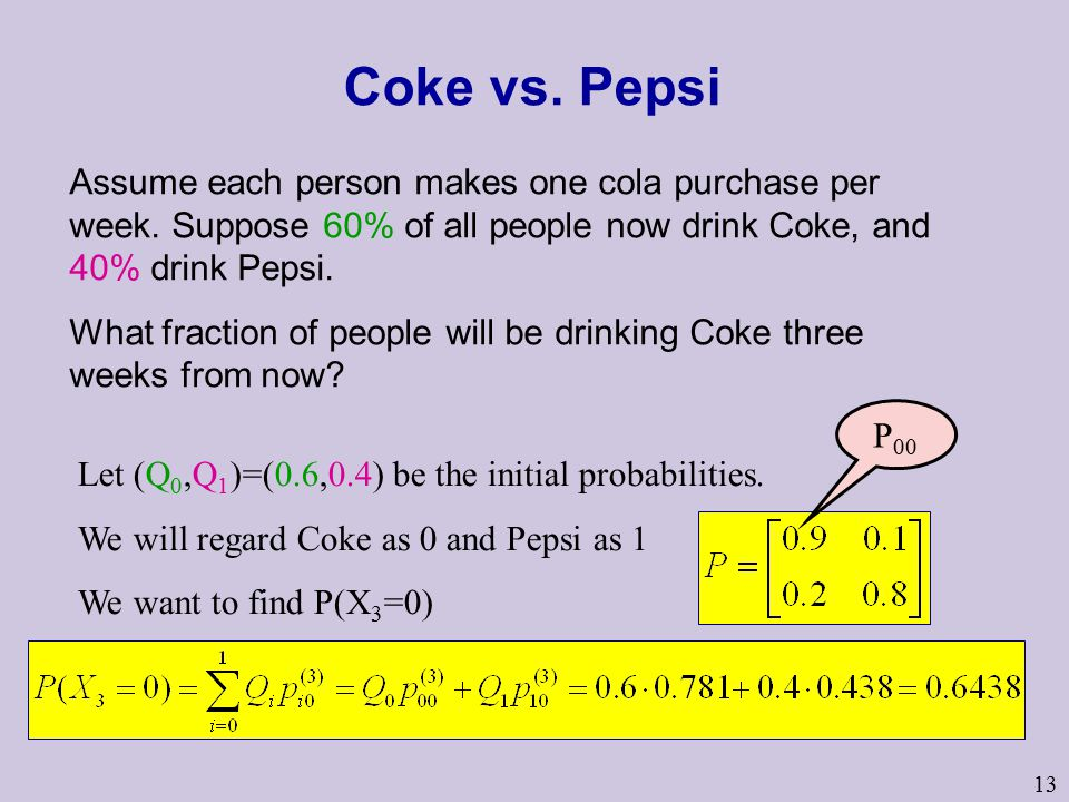 13 Coke vs. Pepsi Assume each person makes one cola purchase per week.