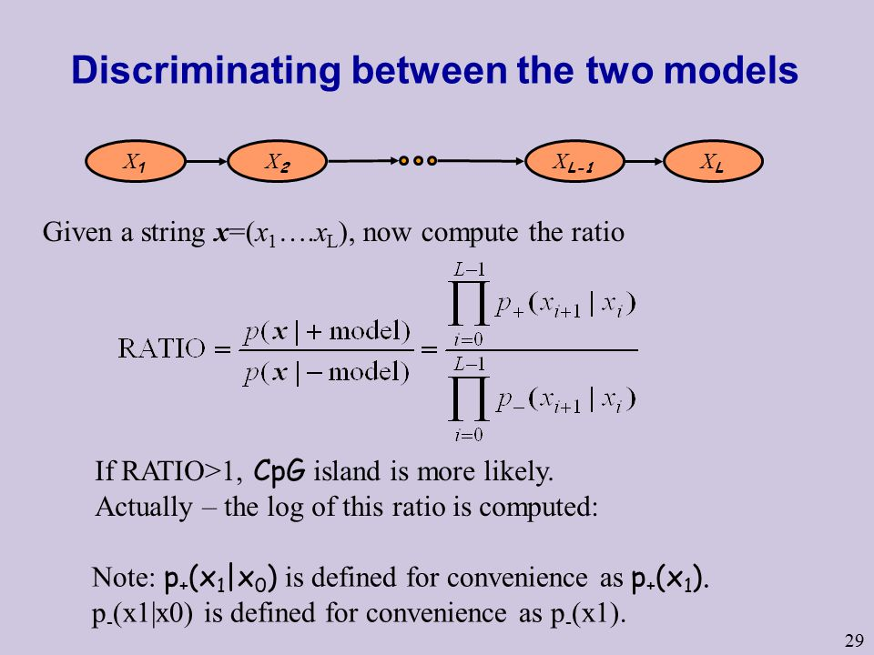 29 Discriminating between the two models Given a string x=(x 1 ….x L ), now compute the ratio If RATIO>1, CpG island is more likely.