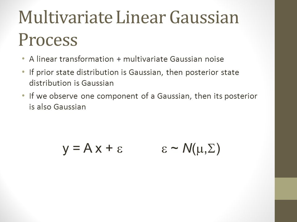 Multivariate Linear Gaussian Process A linear transformation + multivariate Gaussian noise If prior state distribution is Gaussian, then posterior state distribution is Gaussian If we observe one component of a Gaussian, then its posterior is also Gaussian y = A x +  ~ N( ,  )