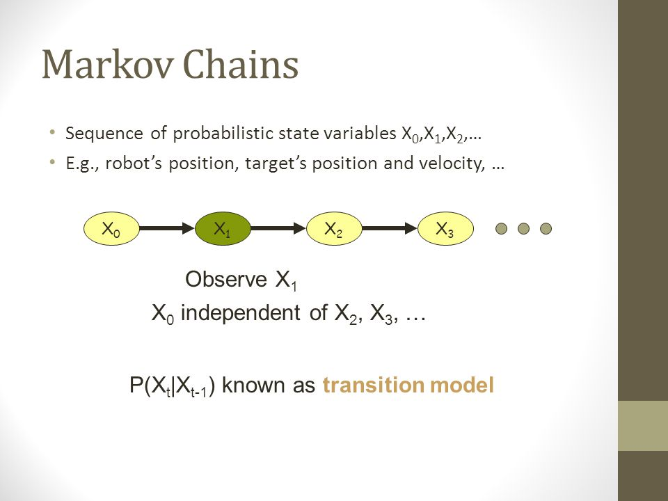 Markov Chains Sequence of probabilistic state variables X 0,X 1,X 2,… E.g., robot's position, target's position and velocity, … X0X0 X1X1 X2X2 X3X3 Observe X 1 X 0 independent of X 2, X 3, … P(X t |X t-1 ) known as transition model