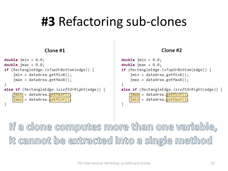 #3 Refactoring sub-clones 7th International Workshop on Software Clones double jmin = 0.0; double jmax = 0.0; if (RectangleEdge.isTopOrBottom(edge)) { jmin = dataArea.getMinX(); jmax = dataArea.getMaxX(); } else if (RectangleEdge.isLeftOrRight(edge)) { jmin = dataArea.getMaxY(); jmax = dataArea.getMinY(); } double jmin = 0.0; double jmax = 0.0; if (RectangleEdge.isTopOrBottom(edge)) { jmin = dataArea.getMinX(); jmax = dataArea.getMaxX(); } else if (RectangleEdge.isLeftOrRight(edge)) { jmax = dataArea.getMinY(); jmin = dataArea.getMaxY(); } Clone #1 Clone #2 10