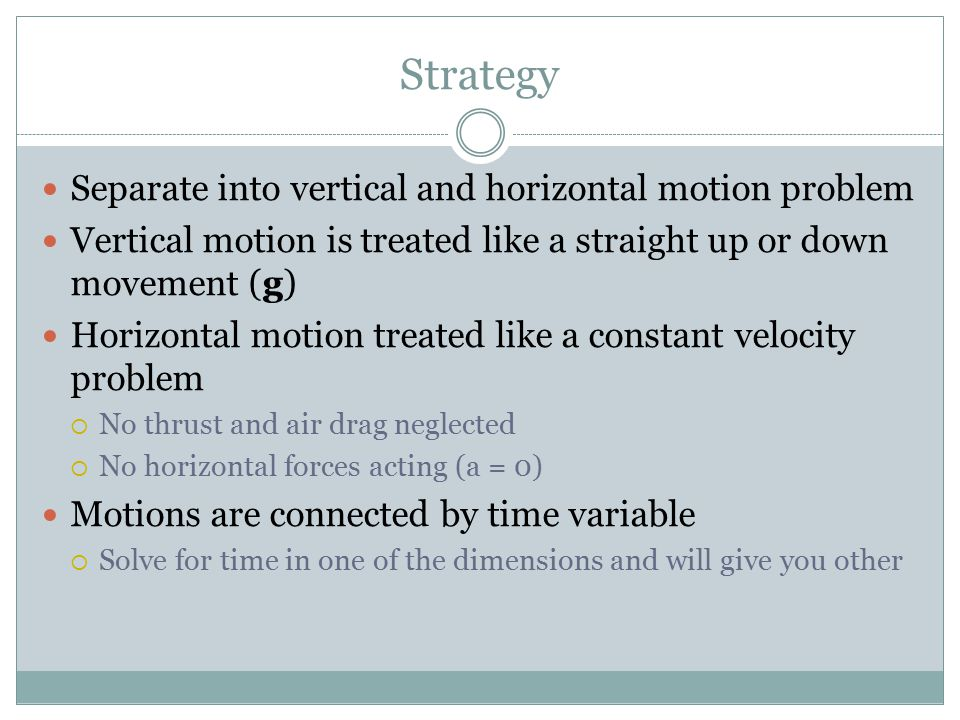Strategy Separate into vertical and horizontal motion problem Vertical motion is treated like a straight up or down movement (g) Horizontal motion treated like a constant velocity problem  No thrust and air drag neglected  No horizontal forces acting (a = 0) Motions are connected by time variable  Solve for time in one of the dimensions and will give you other
