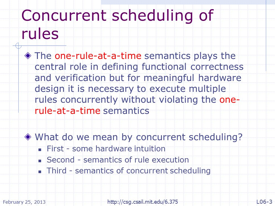 Concurrent scheduling of rules The one-rule-at-a-time semantics plays the central role in defining functional correctness and verification but for meaningful hardware design it is necessary to execute multiple rules concurrently without violating the one- rule-at-a-time semantics What do we mean by concurrent scheduling.