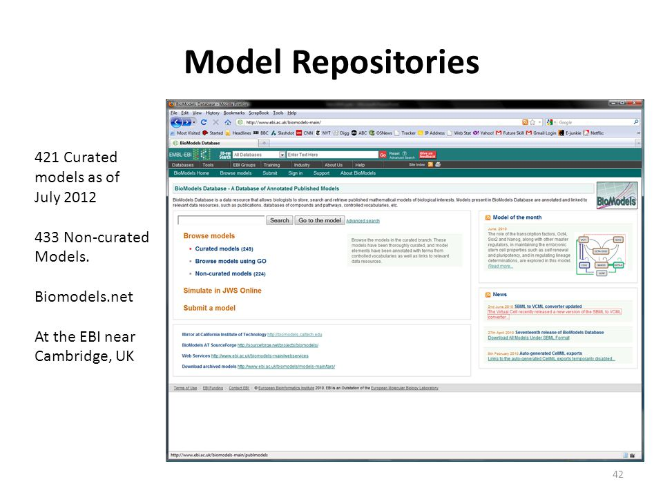 Model Repositories 42 421 Curated models as of July 2012 433 Non-curated Models.