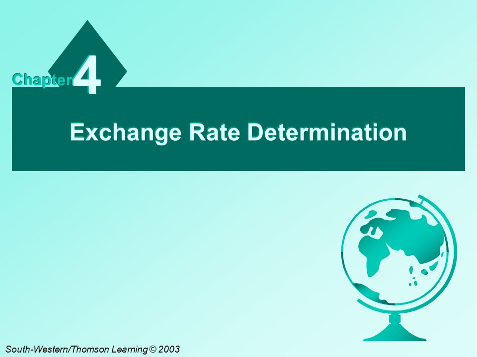 Exchange Rate Determination 4 4 Chapter South-Western/Thomson Learning © 2003