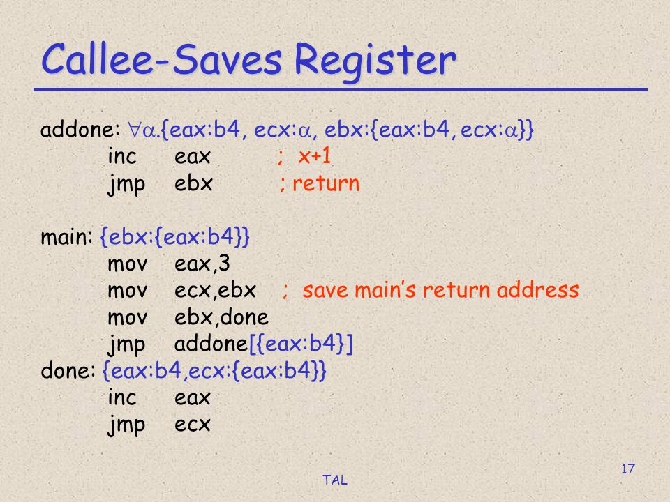 TAL 17 Callee-Saves Register addone: .{eax:b4, ecx: , ebx:{eax:b4, ecx:  }} inc eax ; x+1 jmpebx ; return main: {ebx:{eax:b4}} moveax,3 movecx,ebx ; save main's return address movebx,done jmpaddone[{eax:b4}] done: {eax:b4,ecx:{eax:b4}} inceax jmpecx
