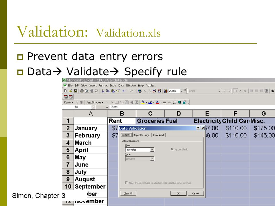 Validation: Validation.xls  Prevent data entry errors  Data  Validate  Specify rule Simon, Chapter 3
