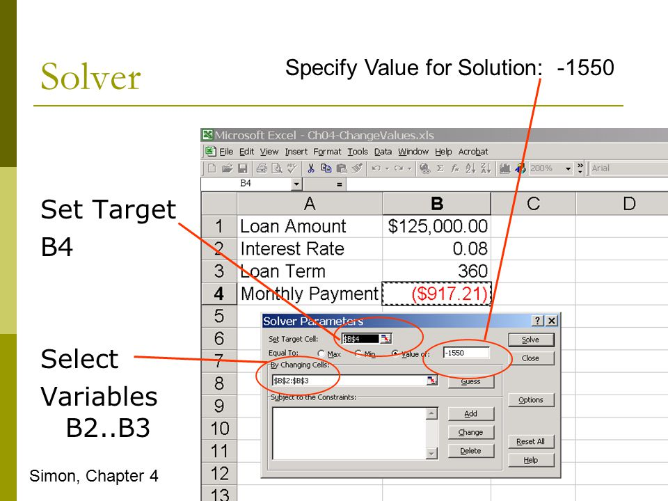 Solver Set Target B4 Select Variables B2..B3 Simon, Chapter 4 Specify Value for Solution: -1550