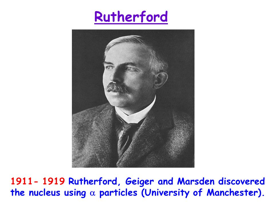 3 Rutherford 1911- 1919 Rutherford, Geiger and Marsden discovered the nucleus using  particles (University of Manchester).