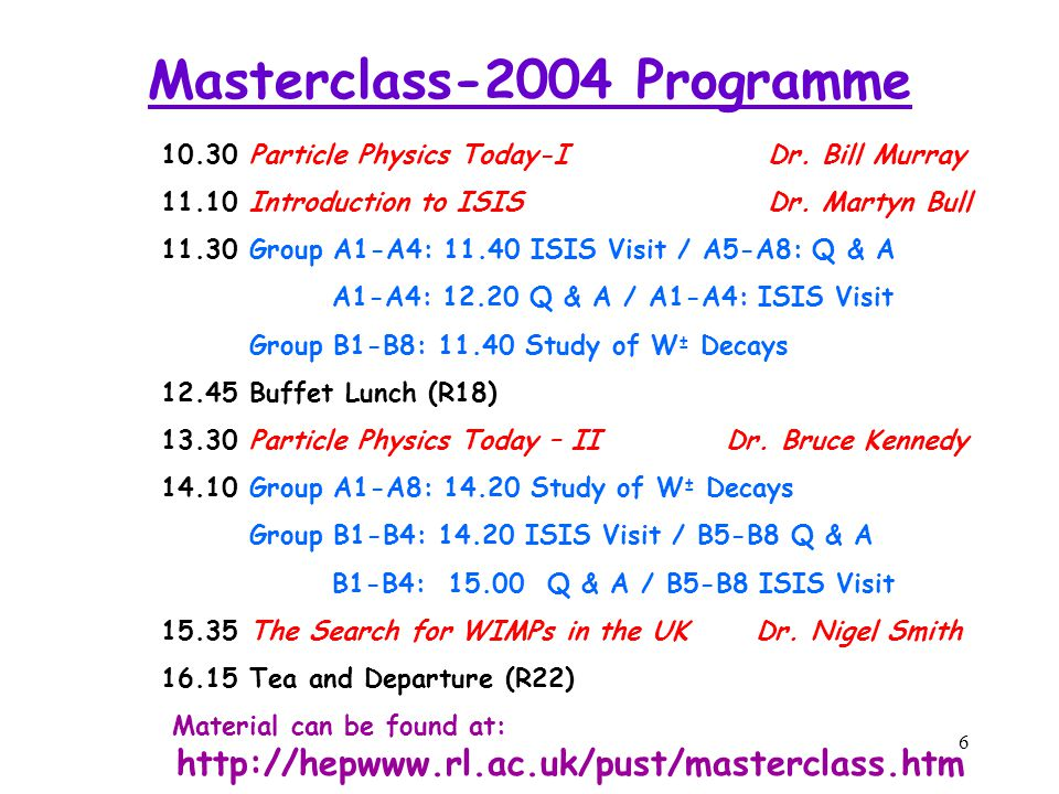 6 Masterclass-2004 Programme 10.30Particle Physics Today-IDr.